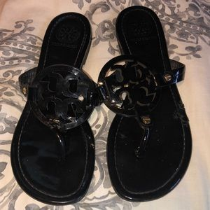 Tory Burch Miller sandals in black patent leather